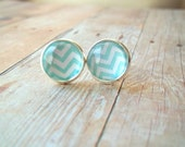 C H E V R O N S - Teal Turquoise Aqua Blue and White Chevron Pattern Photo Glass Cab Circle Silver Plated Post Stud Earrings