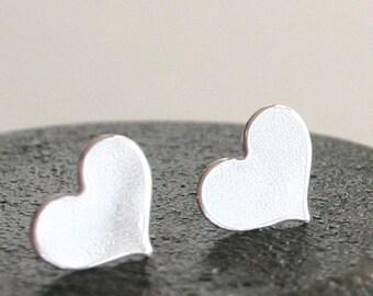 Heart Earrings Sterling Silver sweetheart sud earrings - large - polished finish
