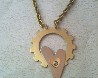 Brass Gear and Silver Heart Steampunk Necklace
