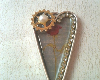 Victorian Rose, Pearl and Gear Steampunk Heart Necklace