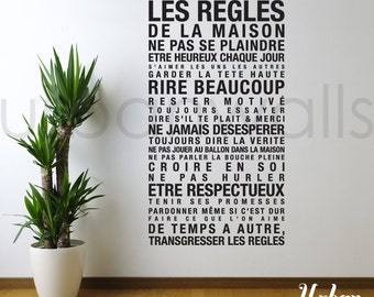 Vinyl Wall Decal Sticker Art, French House Rules les regles de la maison