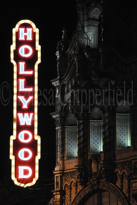 Hollywood Sign Photo Portland Oregon Vintage Theater