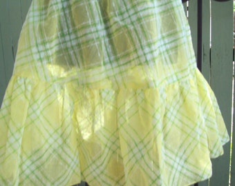 Sheer Yellow Skirt - Plaid Skirt with Ruffle - Vintage Fabric - One of a Kind