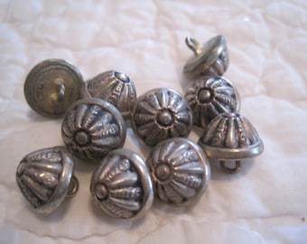 Vintage Lot of 10 Textured Dome Silver Metal Buttons Metal Shank Sewing Supplies Dolls New Old Stock