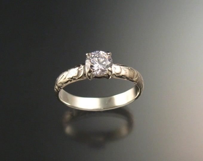 Natural White Zircon Wedding ring 14k White Gold Diamond substitute ring made to order in your size