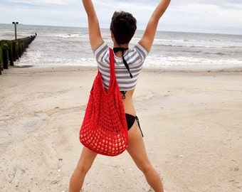 Red Oversized Beach Bag - Crochet Knit - Market Tote - Unlined is Ready To Ship