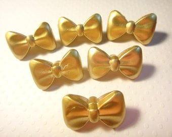 15PCS gold color Plastic Bow beads (with hole) 29mm