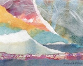 Northern Lights Original Watercolor Paper Collage