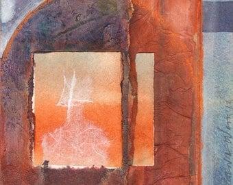 Looking Through Windows - Original Mixed Media Collage Painting