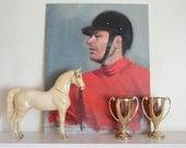 Vintage Equestrian Portrait Painting Jockey Horse Rider Derby Kentucky Preakness Red Orange Blue Chic