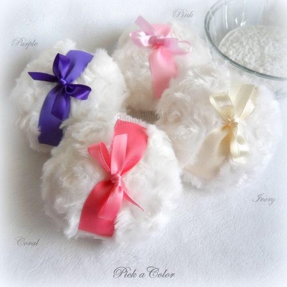 BODY POWDER PUFF white plush - pick a color bath powderpuff - pink, coral, purple, ivory - gift boxed pouf by BonnyBubbles