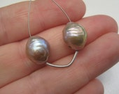SALE - Take 20% Off - Pair of Rare Natural Lavender Platinum Nucleated Chinese Kasumi Pearls 12mm