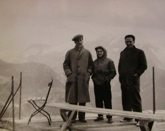 Vintage Photograph - Three People on a MountainTerrace
