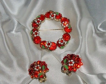 Romantic Antique Signed Weiss Bright Orange Rhinestone and Enamel with Daisy Earring and Brooch Set