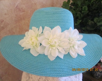 Turquoise wide brim hat with white flowers - Womens floppy hat - Turquoise floppy hat -
