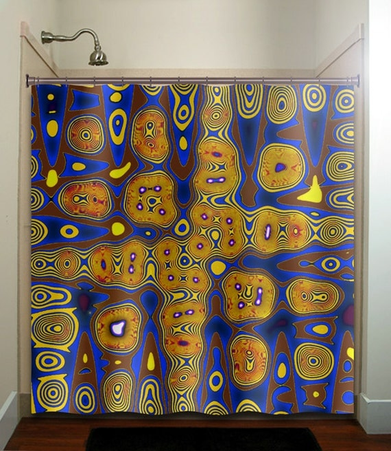 Cities of gold blue yellow brown shower curtain fabric extra for Blue and gold bathroom sets