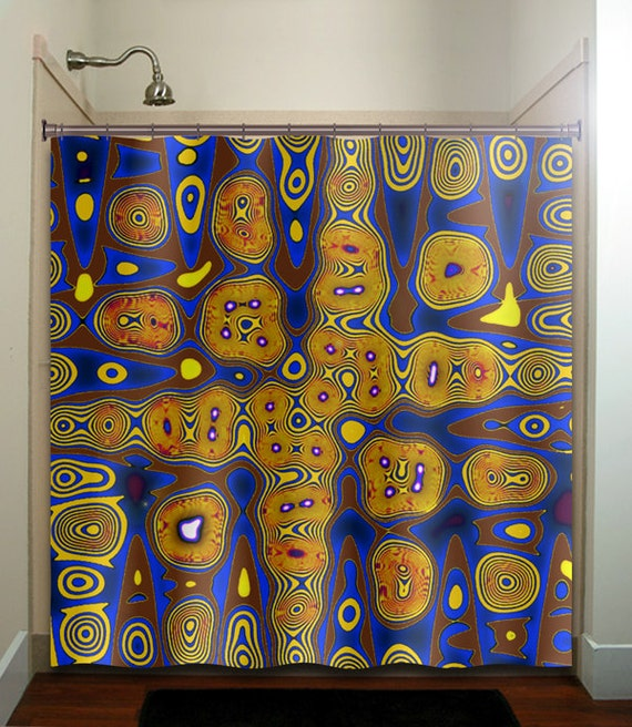 Cities of gold blue yellow brown shower curtain fabric extra for Blue and gold bathroom accessories