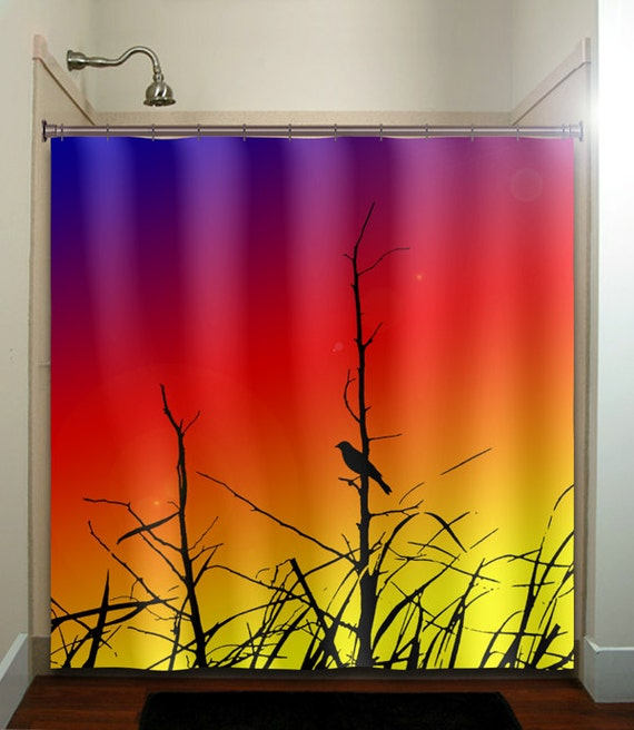 Grass branch rainbow sunset bird shower curtain by for Sunset bathroom designs