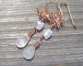 Rose Gold Rainbow Moonstone Earrings,  Hand Wire Wrapped, Butterfly Dangle Earrings