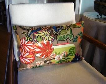 Schumacher CHIANG MAI DRAGON Pillow Cover, 22 x 14 Mocha