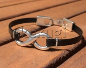 mens womens unisex black real leather bracelet with silver  infinity link