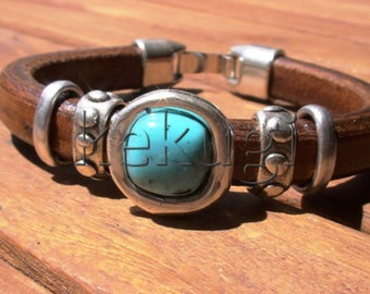 women 10mm licorice camel brown leather bracelet with silver floral beads and turquoise spacer
