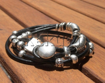 women black leather bracelet and silver plated clasp button