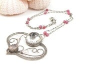 Bridal necklace , gemstone jewelry , romantic necklace , rubi pink necklace , wirework silver jewelry , metalwork jewelry