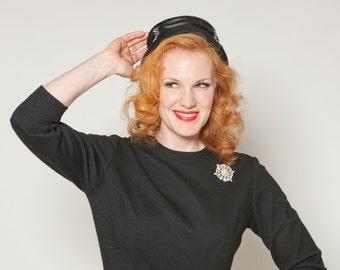 Vintage 1950s Black Rhinestone Hat - Pinehurst for Macy's - French Fashions