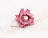 Pink leather flower small french barrette hair clip