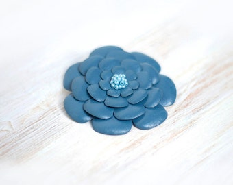 Blue leather flower brooch, statement brooch, cocktail pin, leather jewelry, gift for her, leather flower, Rose brooch
