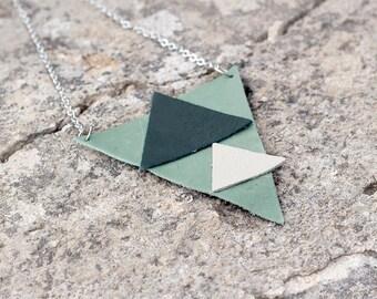 Olive Green leather geometric pendant necklace Unique leather pendant
