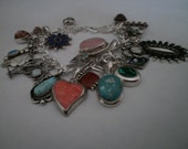 Vintage Sterling Silver Double Link Collector's Charm Bracelet with Lots of Natural Stones