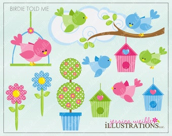Birdie Told Me Cute Digital Clipart for Card Design, Scrapbooking, and Web Design