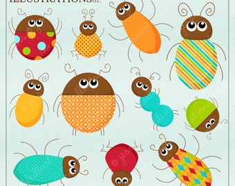 Bugg Outt Cute Digital Clipart for Card Design, Scrapbooking, and Web Design, Bug Insect Clipart