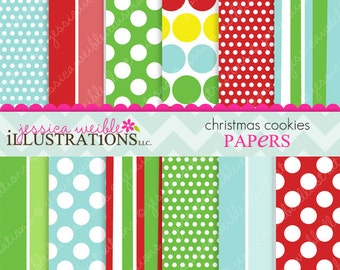 Christmas Cookies Cute Digital Papers Backgrounds for Invitations, Card Design, Scrapbooking, and Web Design