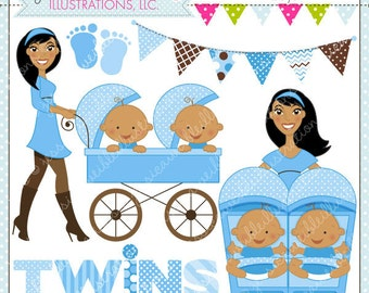Strollin Double Boys V2 Cute Digital Clipart for Commercial or Personal Use, TWIN BOYS Clipart, Twins Stroller