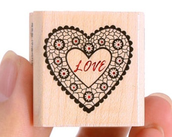 Love Heart Doily Stamp (1.2 x 1.2in)
