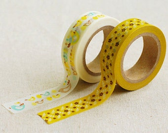 2 Set - Bonny Bird Mustard Flower Adhesive Masking Tapes (0.6in)