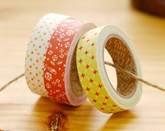 3 Set - Thank You Flower Dot Grid Adhesive Fabric Tapes (0.6in)