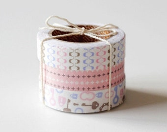 3 Set - Maze Pink Cross Pattern Key Adhesive Fabric Tapes (0.6in)