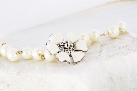 Bridesmaids Enamel Flower Brooch Bracelets Ivory
