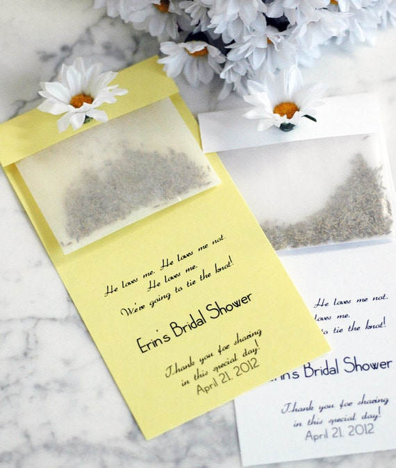 Set of 10 - Personalized Decorative Daisy Seed Pack Party Favor Eco Friendly