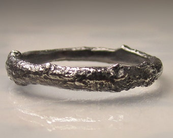 Men's Twig Ring in Sterling Silver, Oxidized Silver Men's Wedding Band