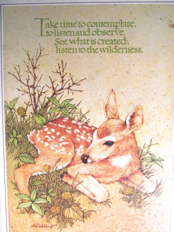Vintage Plaque with Fawn or Baby Deer Illustration