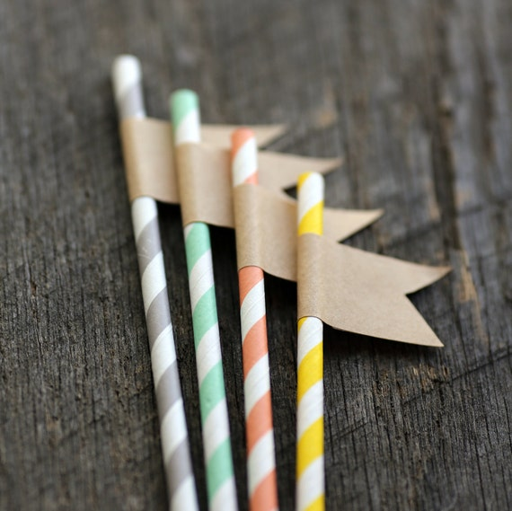 Paper Straws with Kraft Flag -  set of 6 - Great for Parties & Weddings - Party Drinks, Cake Toppers, Gift Toppers, Favors