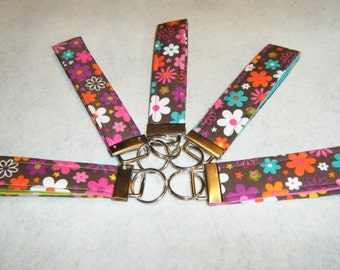 Key Fob Brown with Multi Flowers