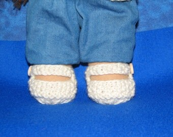 Doll Shoes for 10 inch Doll Knit in Off-White / Cream wool - RTG - ready to go