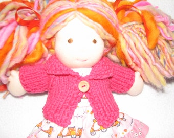 Waldorf Doll Sweater for 8 inch - 9 inch  knit in Medium Rose Pink wool - RTG - ready to go