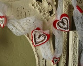 Valentines day garland lace heart garland decor Fabric hearts white lace doilies garland grapevine hearts Rustic Chic home decor sheet music